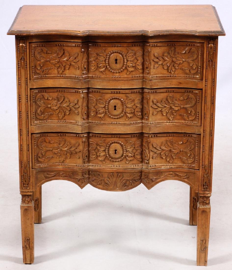 FRENCH STYLE THREE DRAWER CARVED WALNUT COMMODE