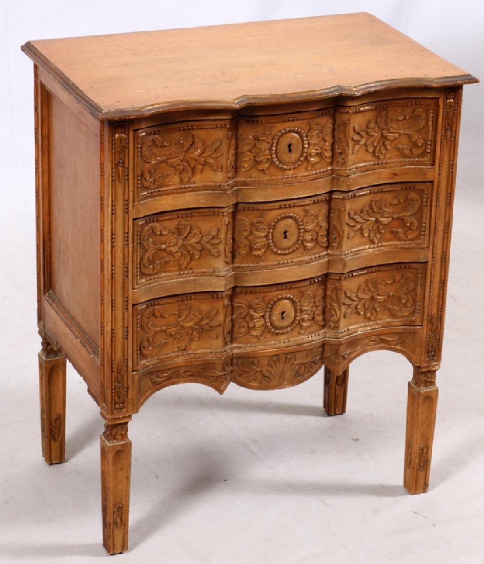 FRENCH STYLE THREE DRAWER CARVED WALNUT COMMODE - 2