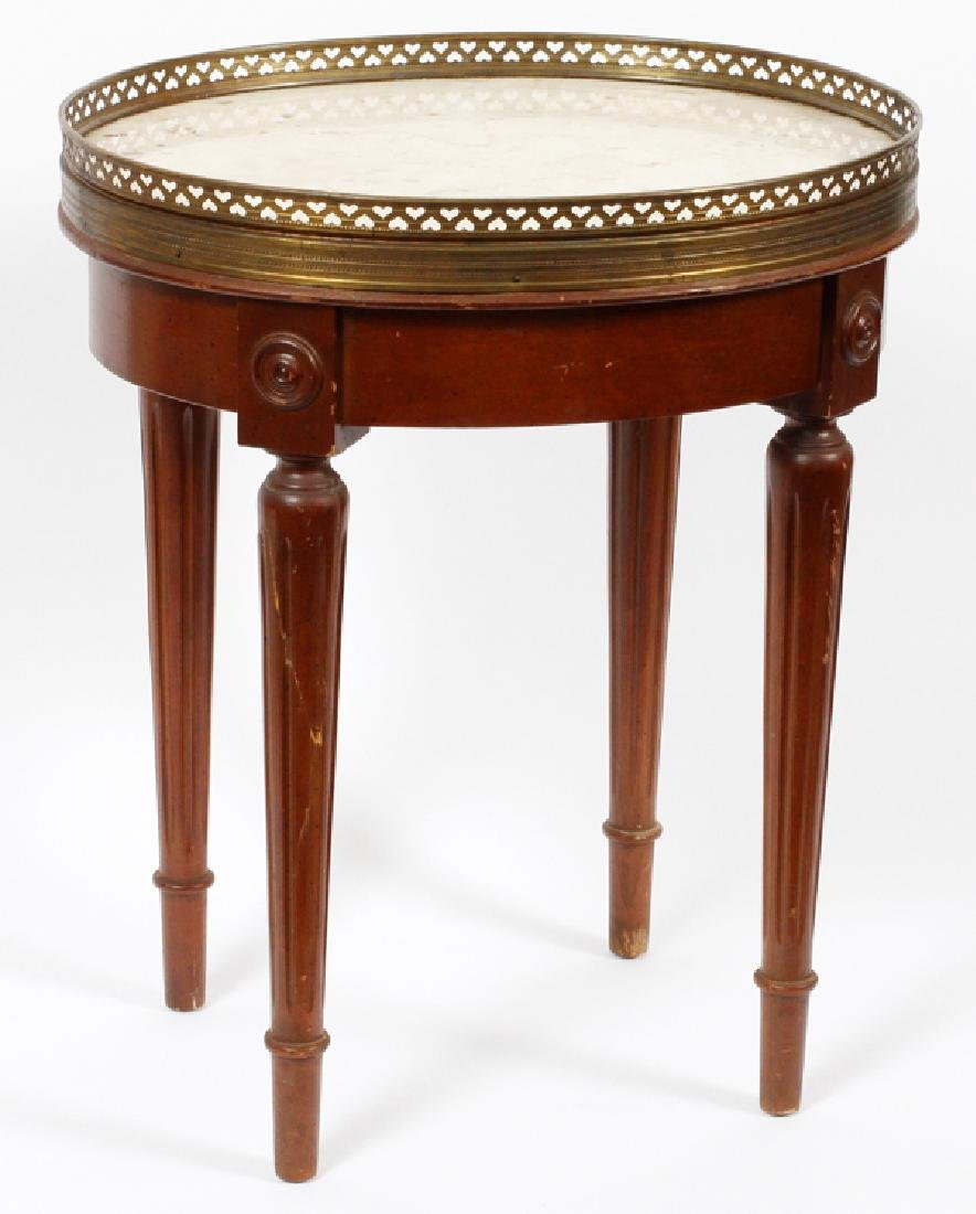 ROUND WALNUT SMALL TABLE MARBLE TOP