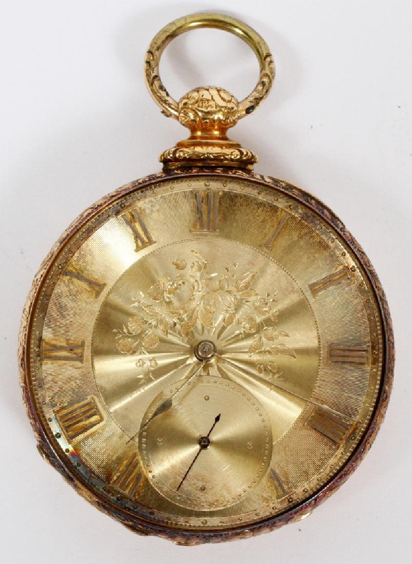 MJ TOBIAS 18K YELLOW GOLD OPEN FACE POCKET WATCH