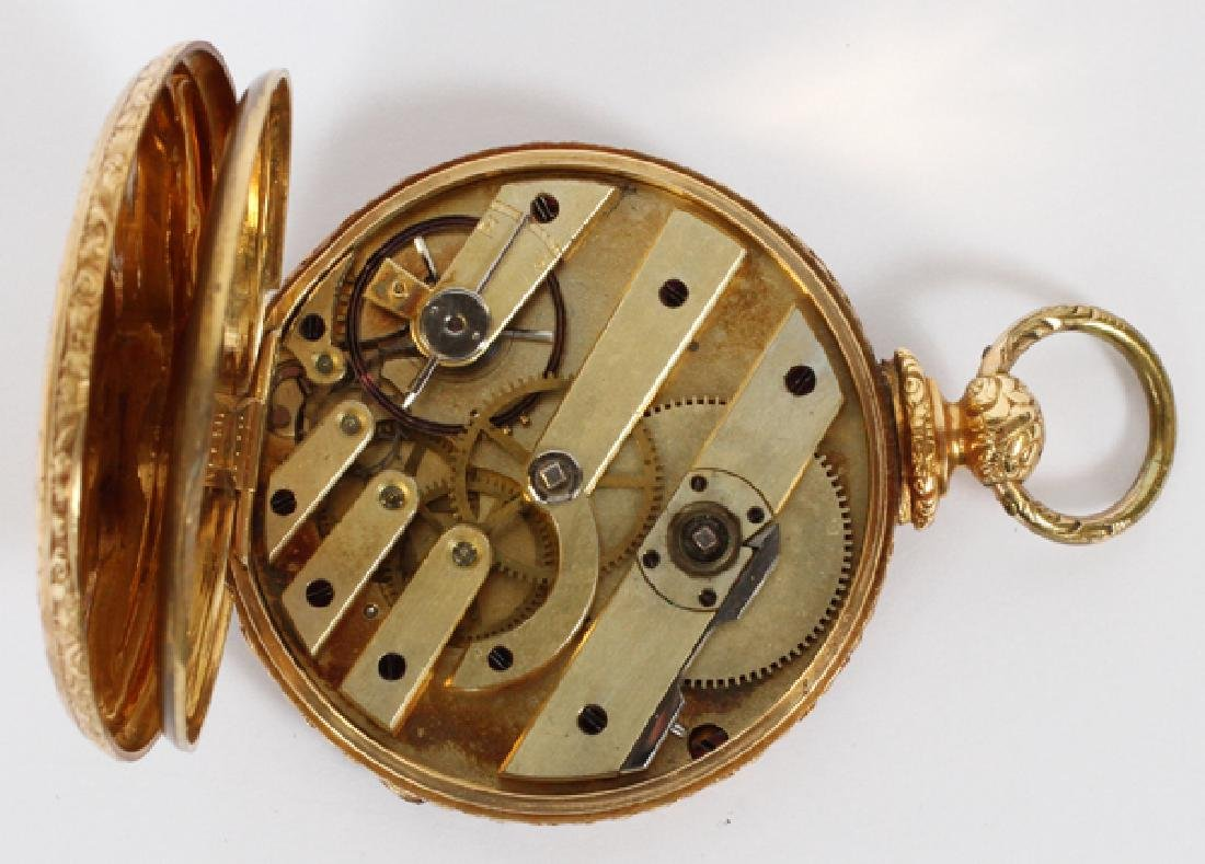 MJ TOBIAS 18K YELLOW GOLD OPEN FACE POCKET WATCH - 2