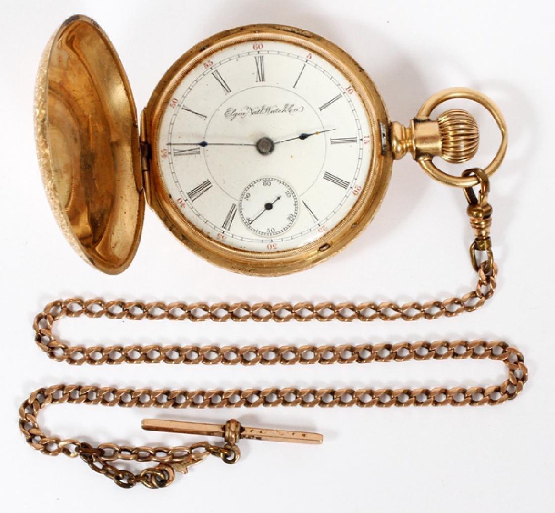 ELGIN YELLOW GOLD HUNTING CASE POCKET WATCH C. 1895