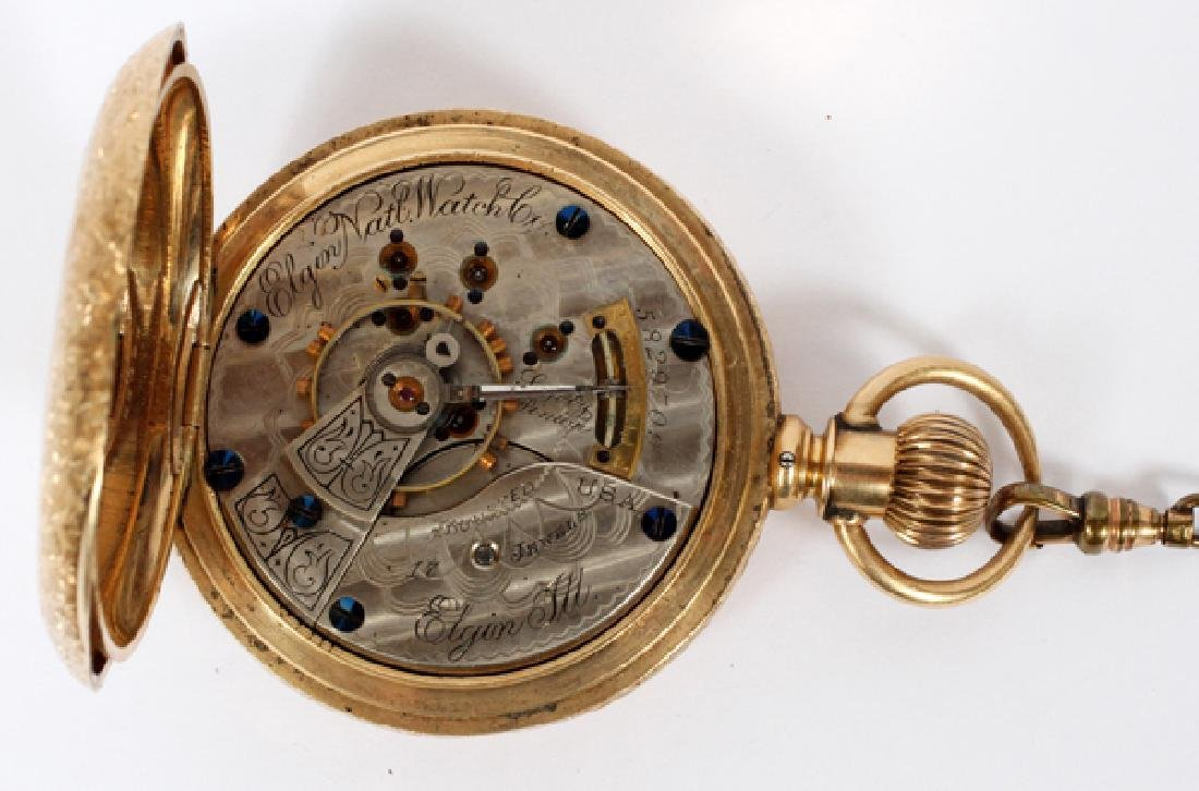 ELGIN YELLOW GOLD HUNTING CASE POCKET WATCH C. 1895 - 2