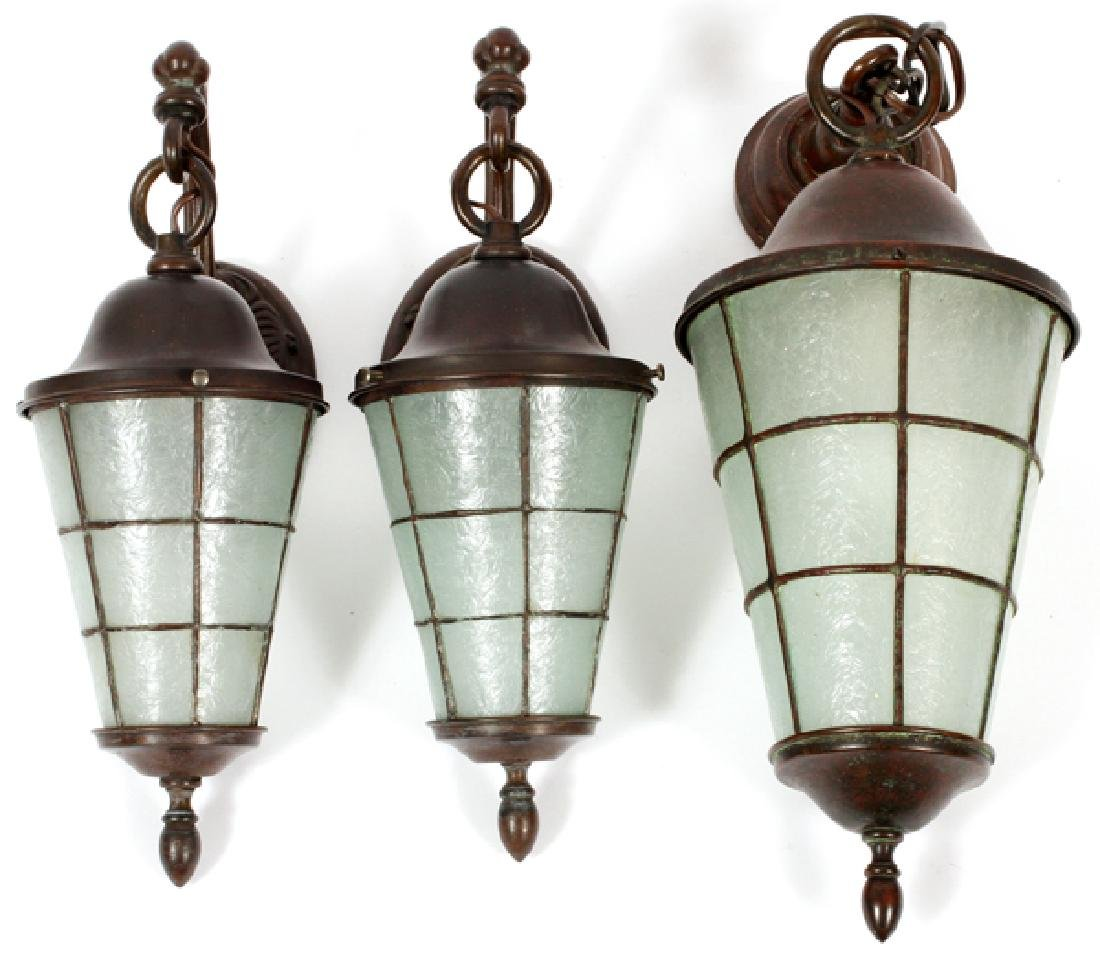 GROUP OF THREE HANDEL ARTS & CRAFTS LANTERNS