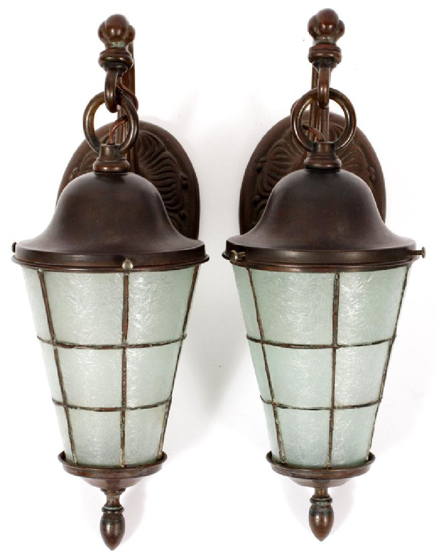 GROUP OF THREE HANDEL ARTS & CRAFTS LANTERNS - 2