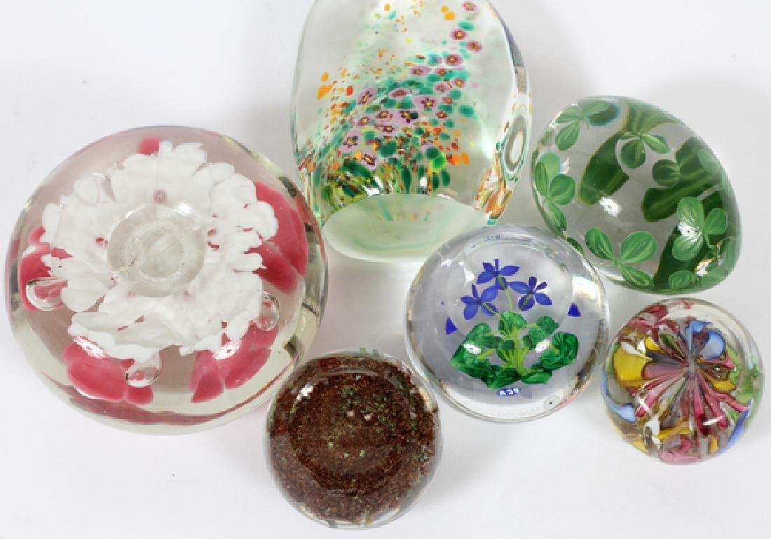 ART GLASS FLORAL PAPERWEIGHTS 6 PCS. - 4