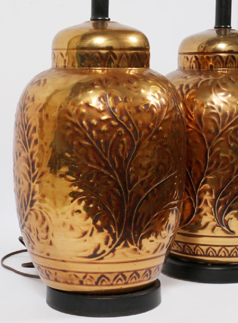 COPPER TONE PORCELAIN TABLE LAMPS PAIR - 2