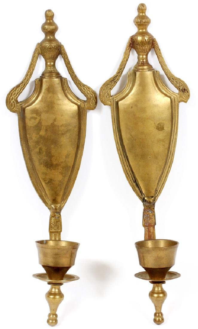 SINGLE LITE BRASS CANDLE SCONCES PAIR