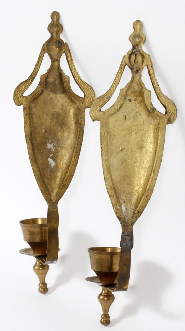 SINGLE LITE BRASS CANDLE SCONCES PAIR - 2