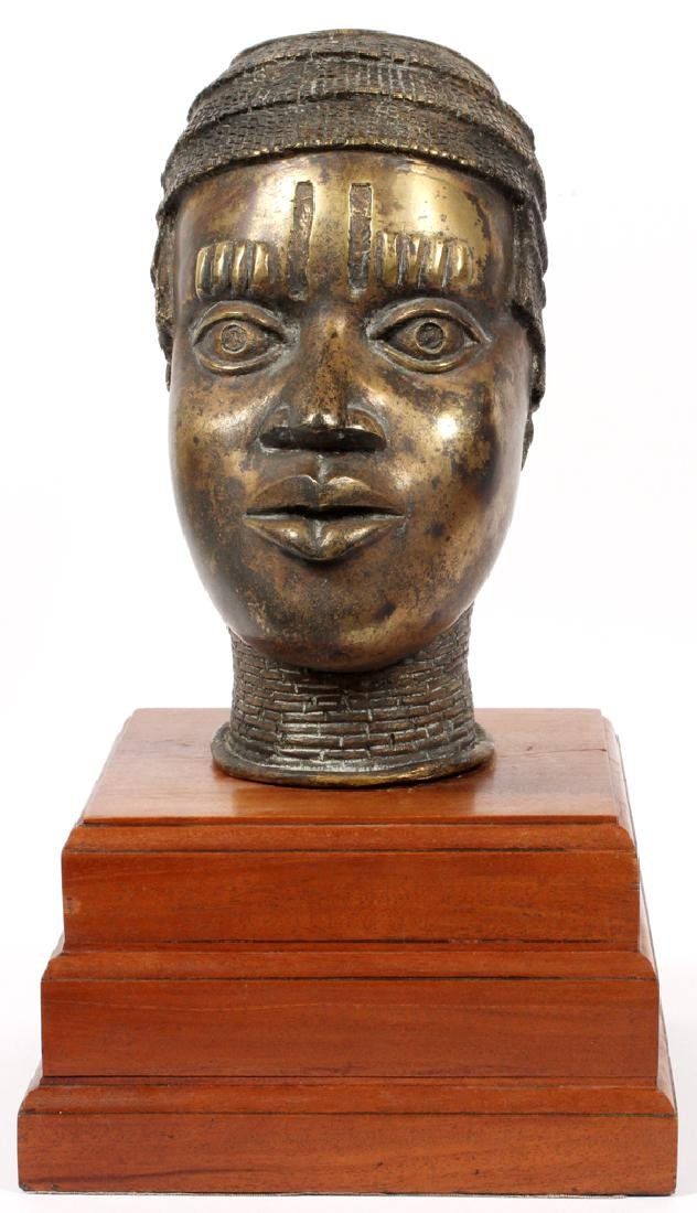 AFRICAN BENIN BRONZE BUST AND WOODEN STAND