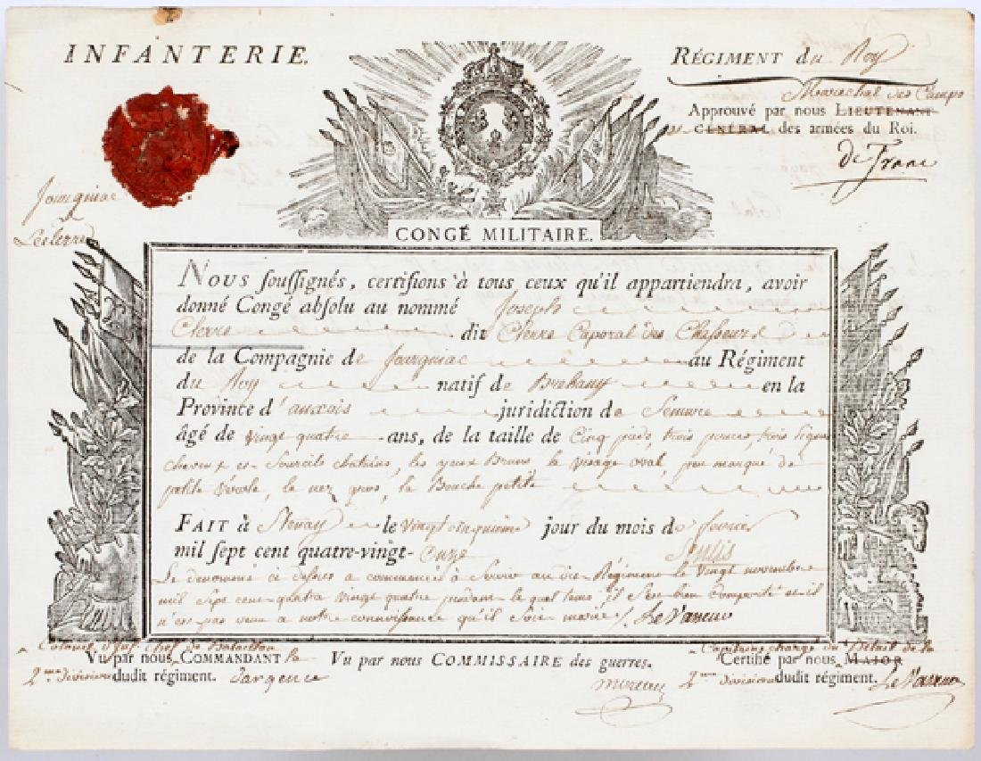 FRENCH MILITARY INFANTRY REGIMENT DOCUMENT C1791