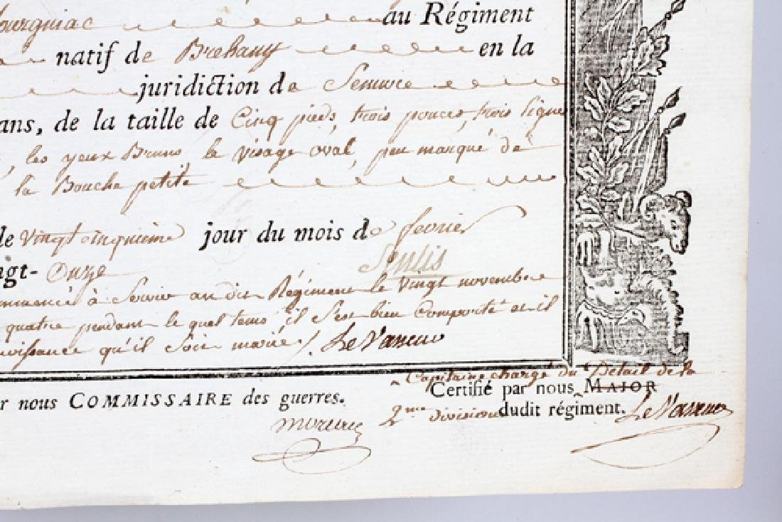 FRENCH MILITARY INFANTRY REGIMENT DOCUMENT C1791 - 5