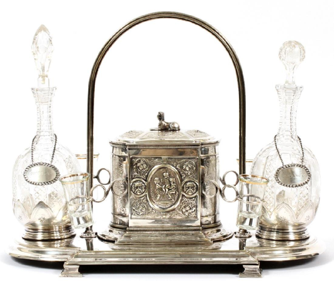 ANTIQUE SHEFFIELD AND CRYSTAL TANTALUS SET