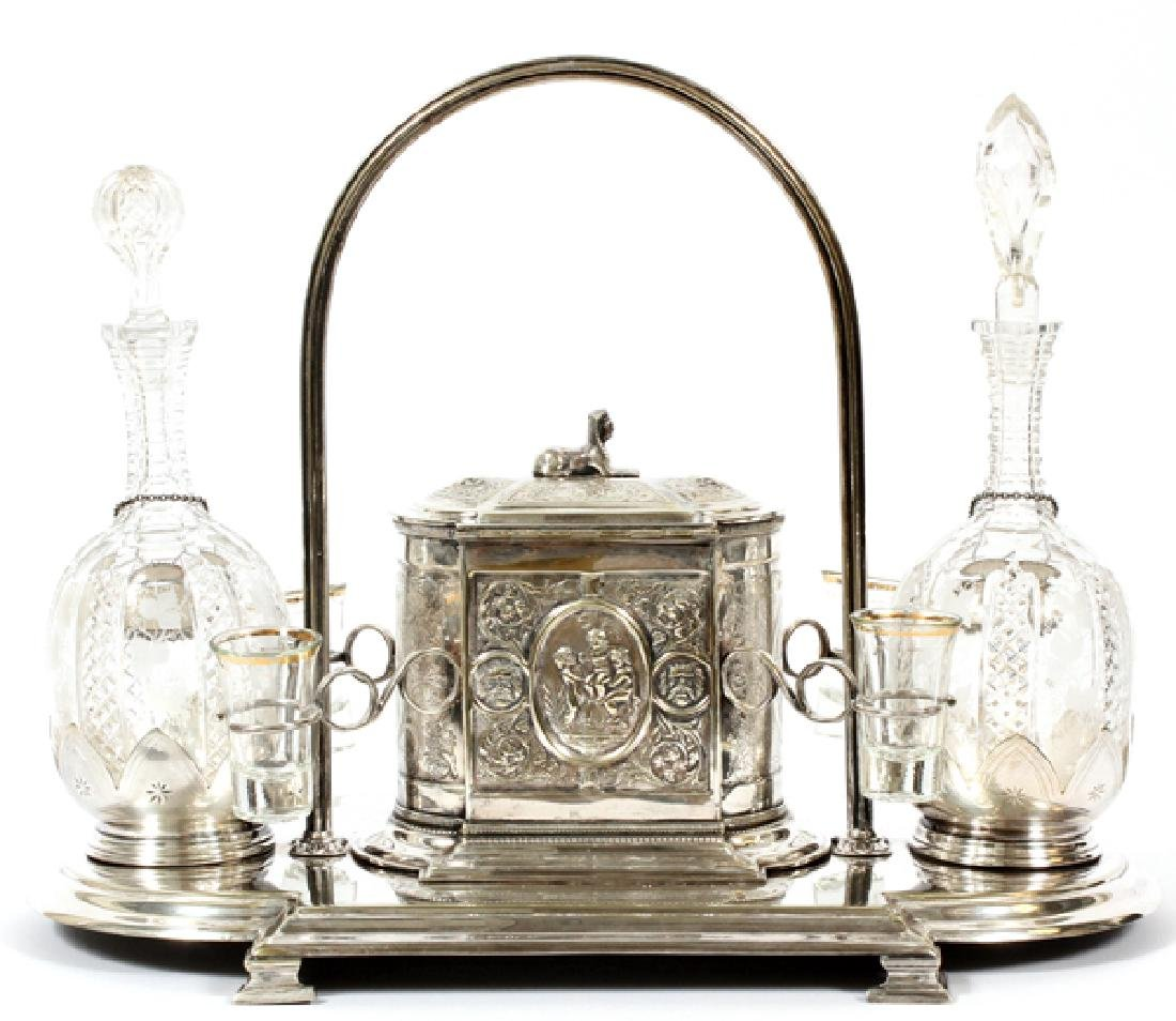 ANTIQUE SHEFFIELD AND CRYSTAL TANTALUS SET - 2