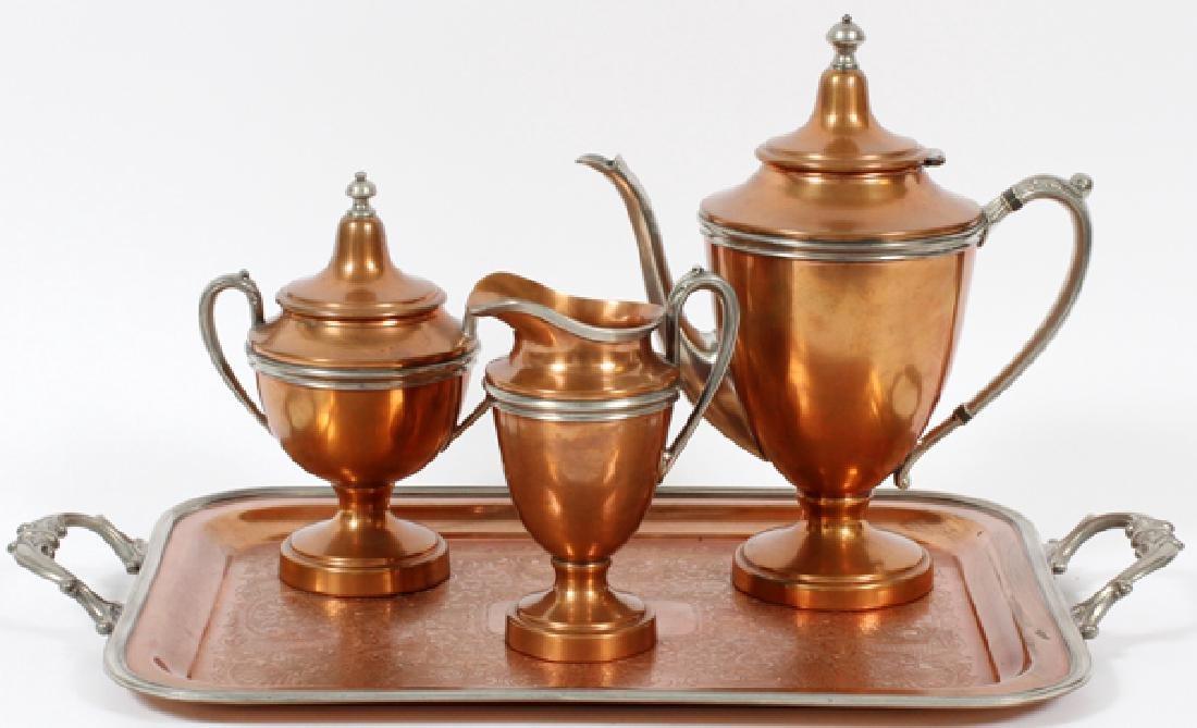 MIDDLETOWN SILVERWARE COPPER & PEWTER TEA SERVICE