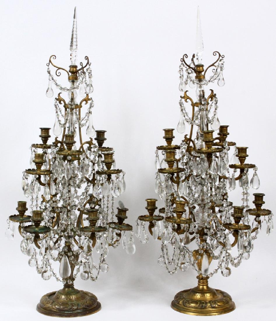 FRENCH BRONZE AND CRYSTAL GIRANDOLES 19TH.C. PAIR
