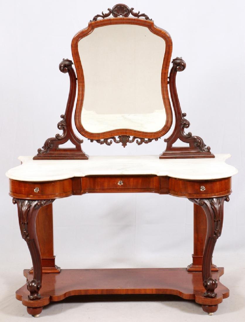VICTORIAN MARBLE & MAHOGANY DRESSING TABLE C. 1870S