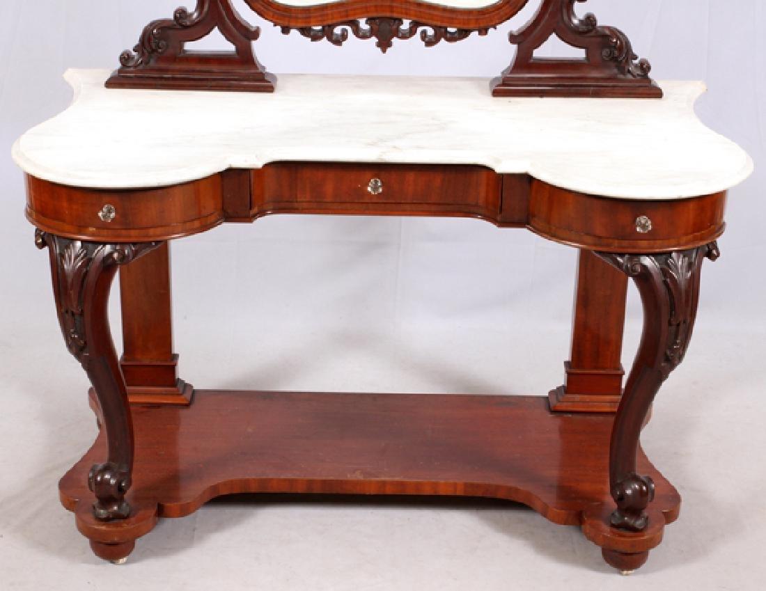 VICTORIAN MARBLE & MAHOGANY DRESSING TABLE C. 1870S - 2