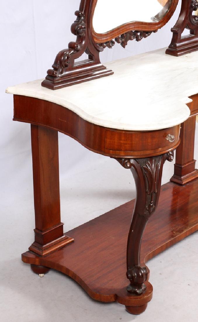 VICTORIAN MARBLE & MAHOGANY DRESSING TABLE C. 1870S - 4