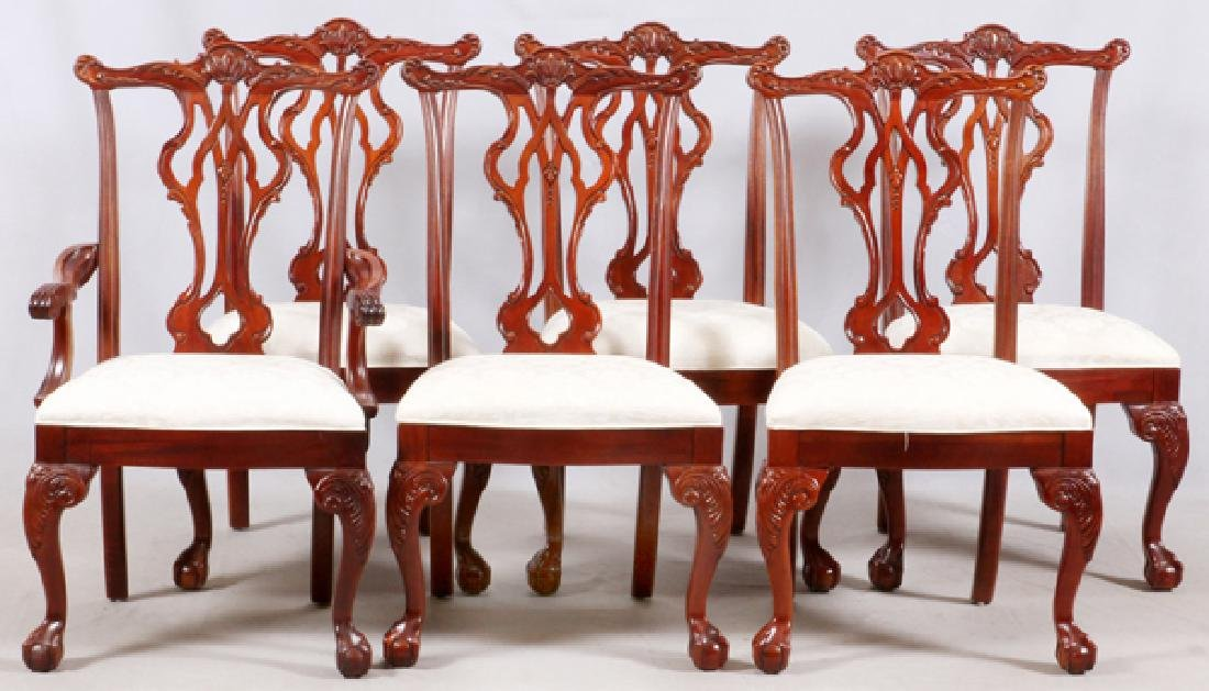 THOMASVILLE CHIPPENDALE STYLE MAHOGANY DINING SET - 4