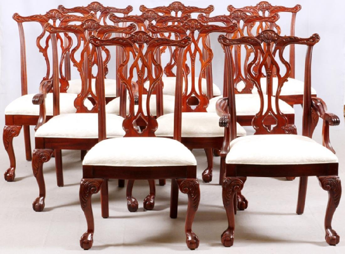 THOMASVILLE CHIPPENDALE STYLE MAHOGANY DINING SET - 5