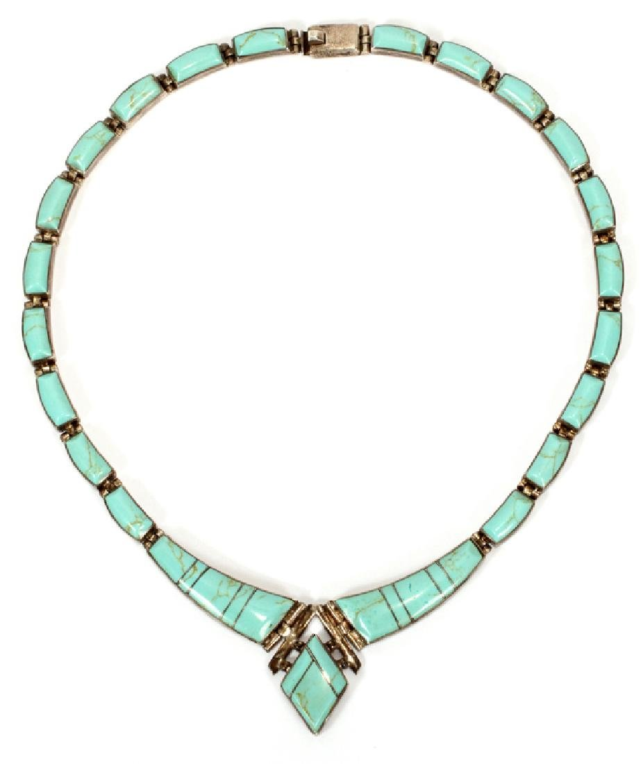 MEXICAN TURQUOISE AND STERLING NECKLACE