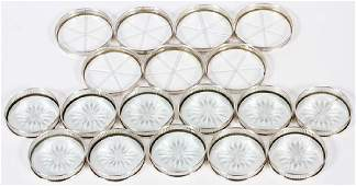 STERLING SILVER & CUT CRYSTAL COASTERS