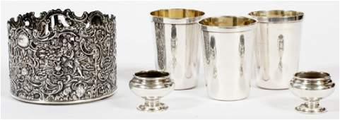 STERLING 3 TRAVEL CUPS, BOTTLE HOLDER, 2 SALTS