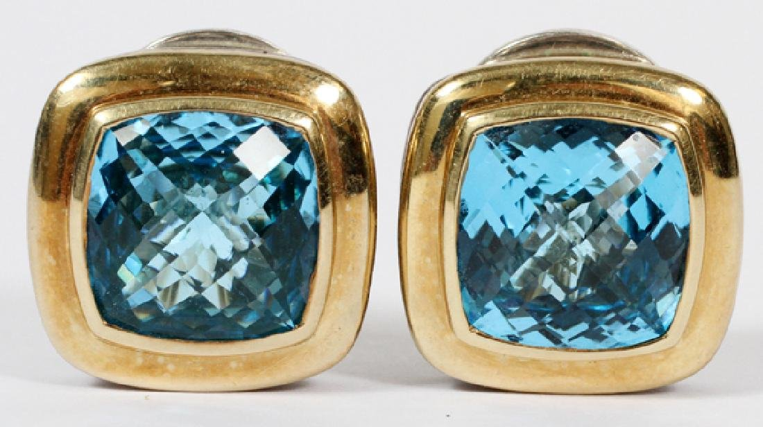 DAVID YURMAN BLUE TOPAZ GOLD & STERLING EARRINGS