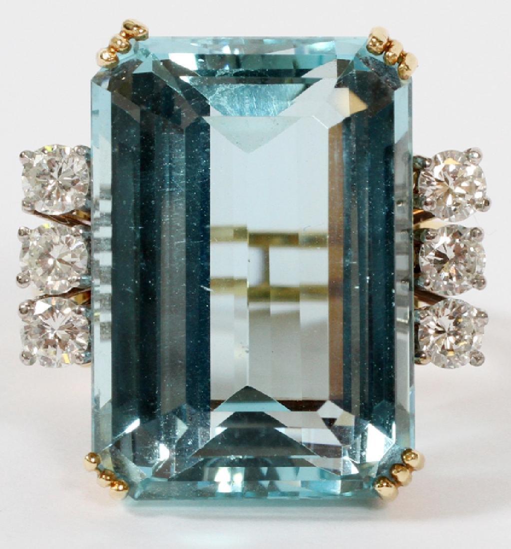 25CT AQUAMARINE AND 1.48CT DIAMOND RING