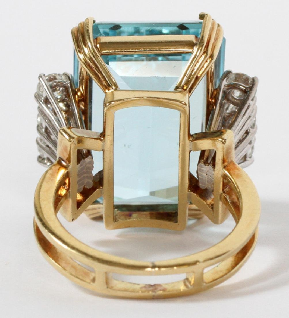 25CT AQUAMARINE AND 1.48CT DIAMOND RING - 3