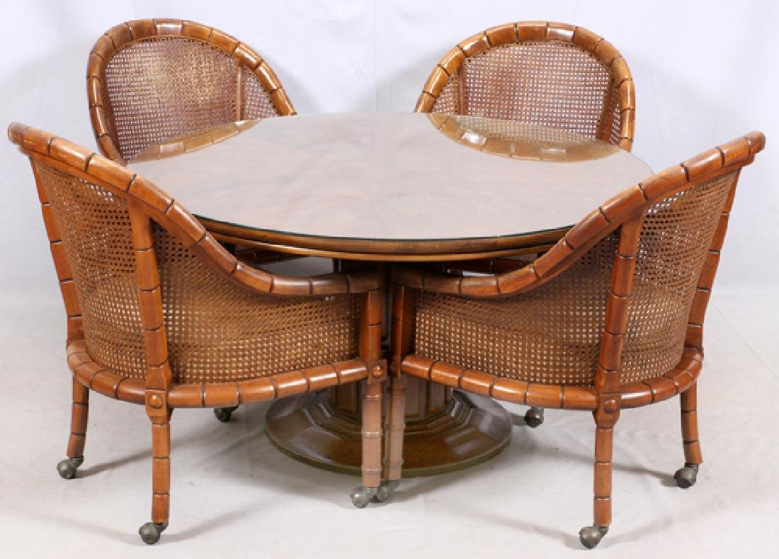 CANED AND UPHOLSTERED DINING SET