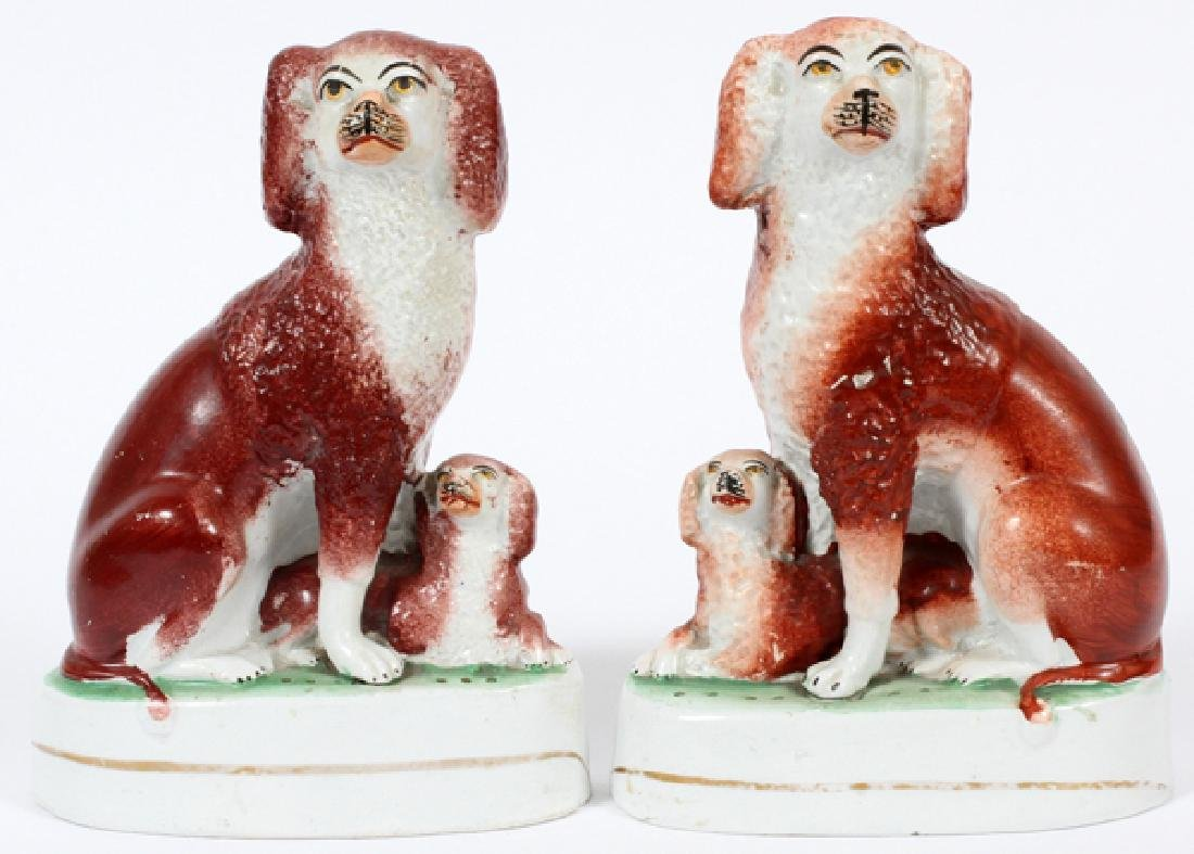 STAFFORDSHIRE POODLES W/ PUPS 19TH.C. PAIR