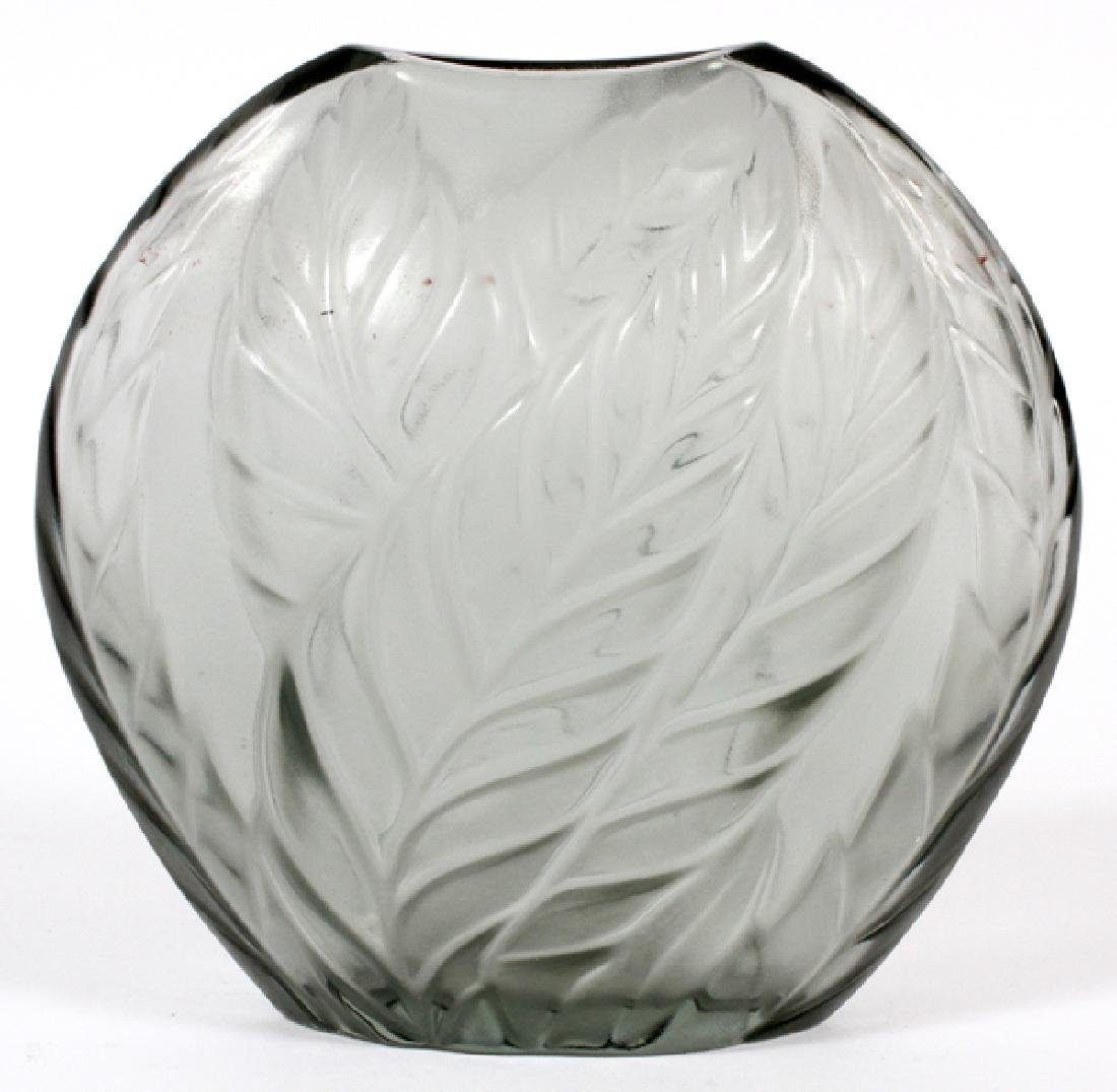 LALIQUE FROSTED GREY GLASS VASE