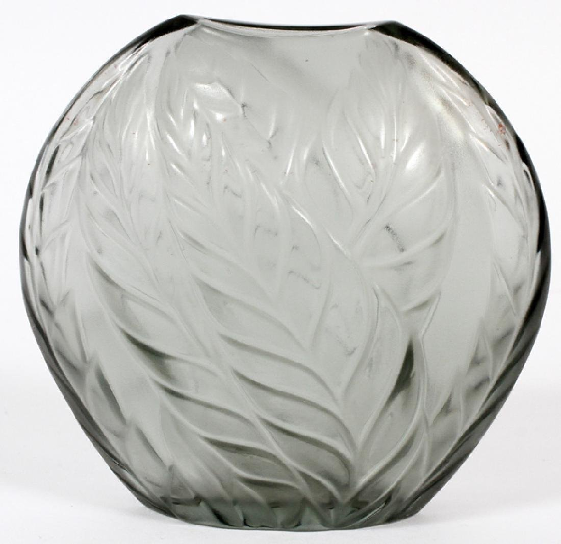 LALIQUE FROSTED GREY GLASS VASE - 2