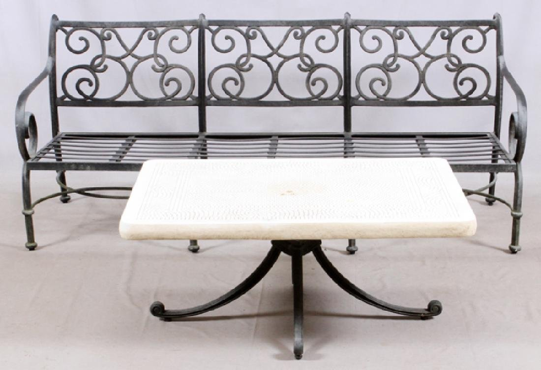 CONTEMPORARY CAST METAL OUTDOOR PATIO SET 2 PCS.