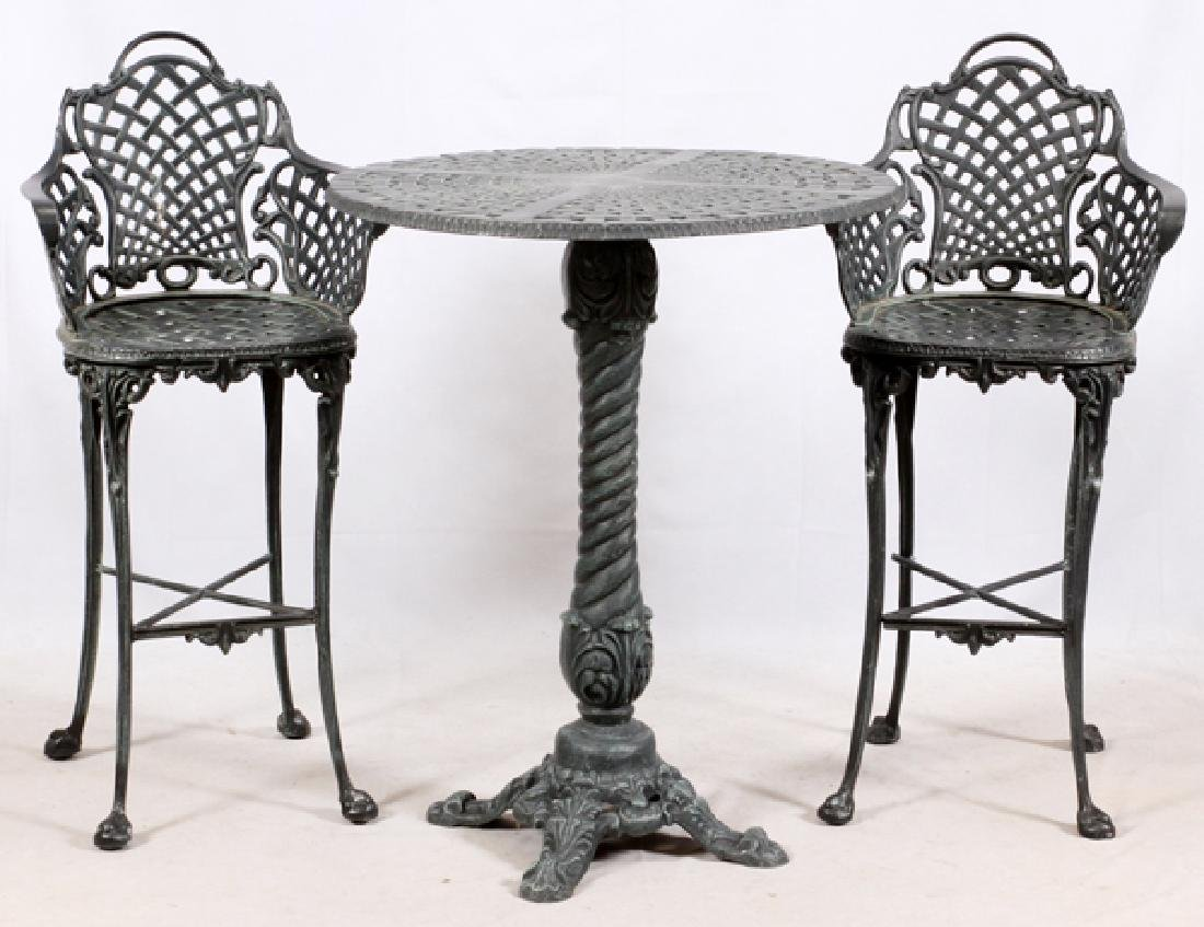 CAST METAL BISTRO CHAIRS & TABLE
