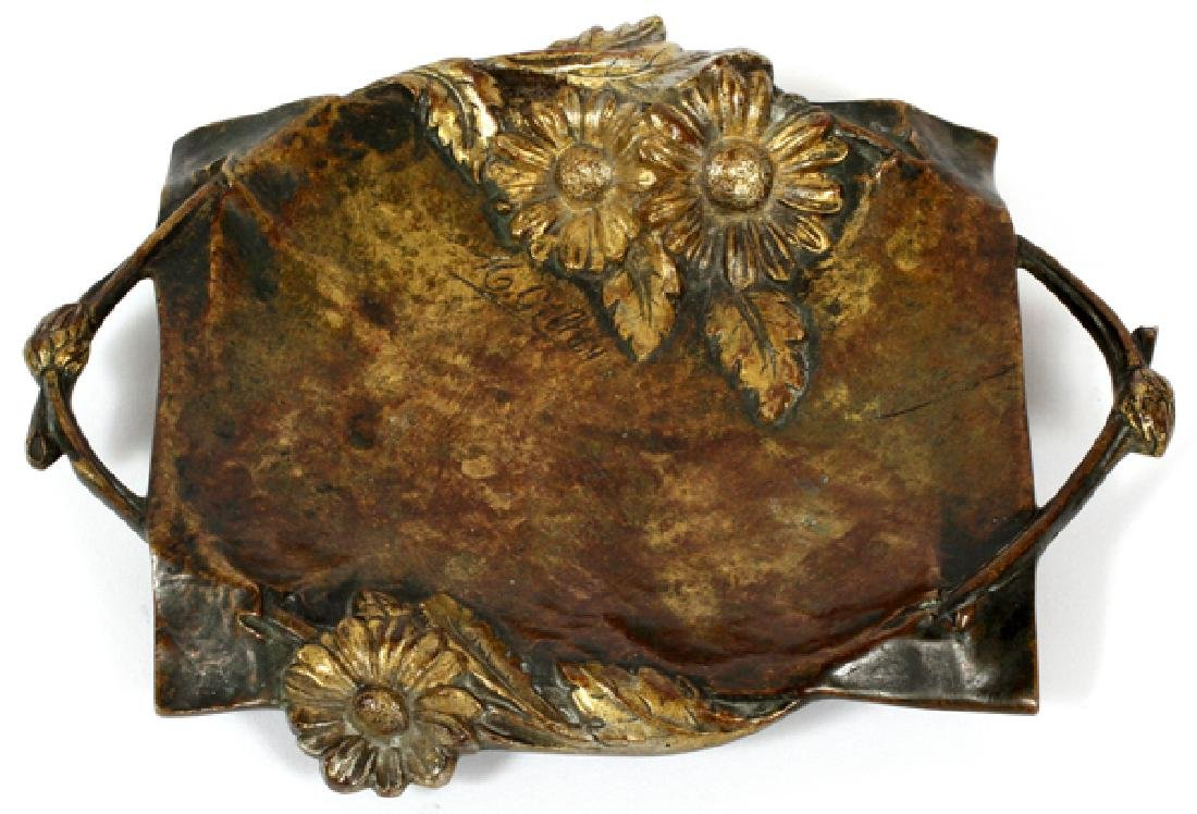 SIGNED GILLAY BRONZE TRAY EARLY 20TH C.