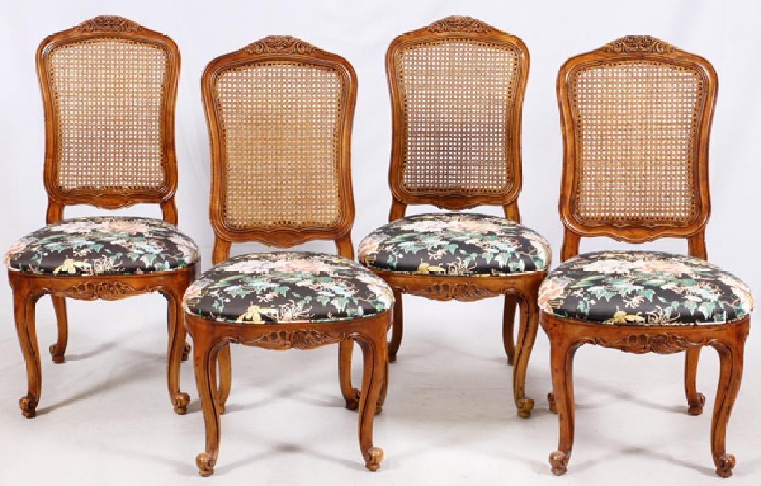 HENREDON CARVED WALNUT CANE BACK SIDE CHAIRS