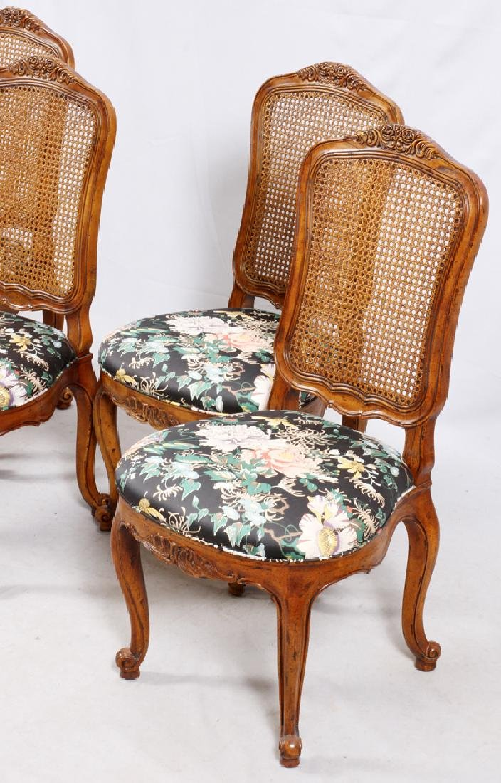 HENREDON CARVED WALNUT CANE BACK SIDE CHAIRS - 2