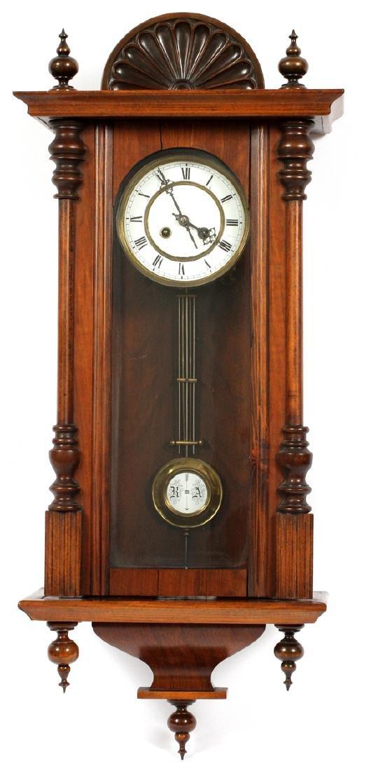 GERMAN WALNUT HANGING WALL CLOCK 19TH C.