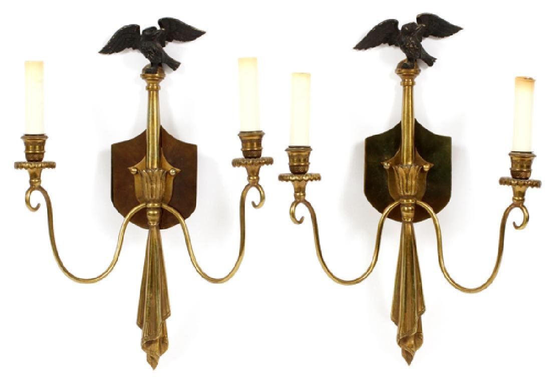 REGENCY STYLE BRASS TWO LIGHT SCONCES 4 PIECES