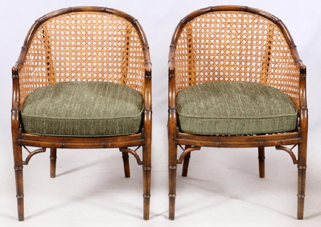 CANED BACK & SEAT BAMBOO STYLE WALNUT CLUB CHAIRS