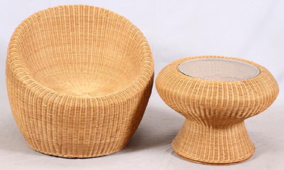ISAMU KENMOCHI WICKER CHAIR & TABLE