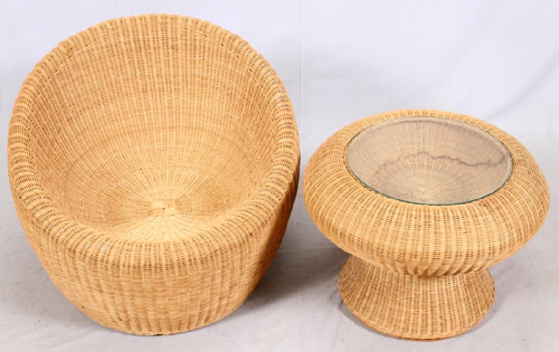 ISAMU KENMOCHI WICKER CHAIR & TABLE - 2