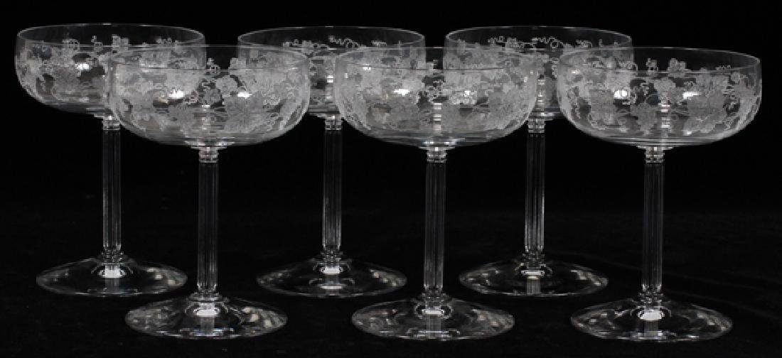 FOSTORIA ETCHED CRYSTAL CHAMPAGNE GLASSES SIX
