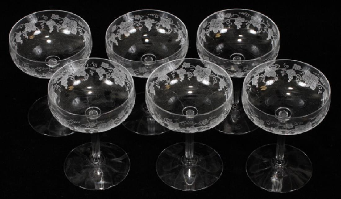 FOSTORIA ETCHED CRYSTAL CHAMPAGNE GLASSES SIX - 2