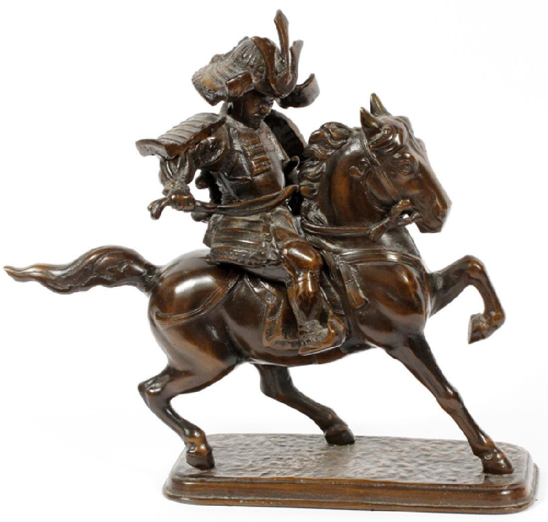 JAPANESE BRONZE MOUNTED SAMURAI ON HORSE BACK