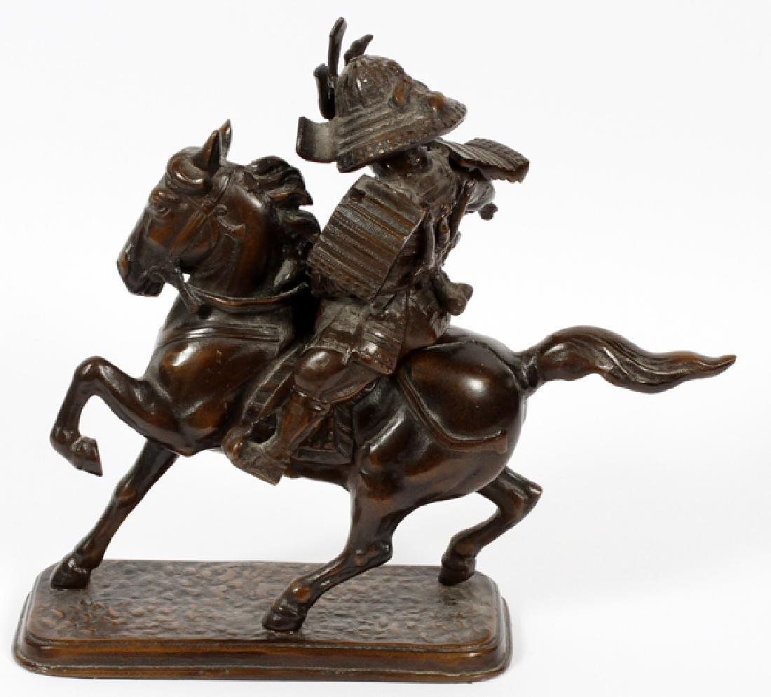 JAPANESE BRONZE MOUNTED SAMURAI ON HORSE BACK - 3