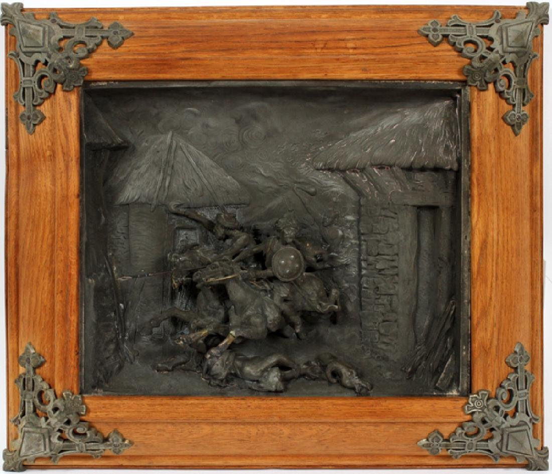 CONTINENTAL SPELTER FIGURAL RELIEF PLAQUE